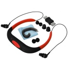 Outdoor Waterproof MP3 Player FM Radio Headphone w/ 8GB Memory - Red