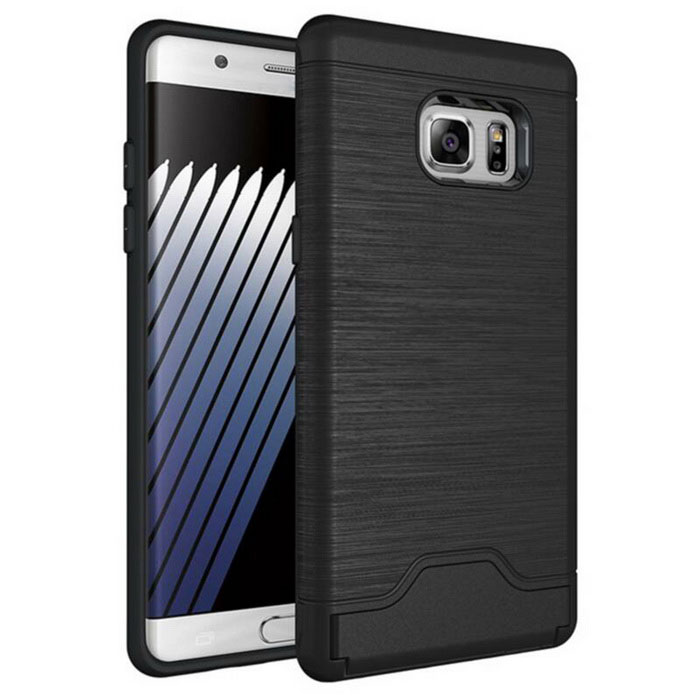 Protection Back Cases w/ Card Slots for Samsung Note 7 - Black