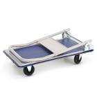 Heavy Steel Folding Trolley - White + Blue (150kg Load)