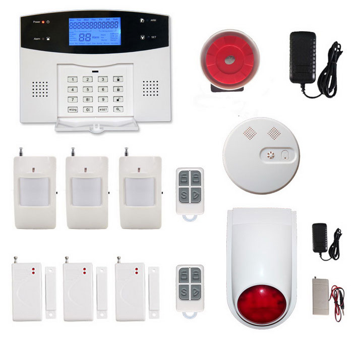 LCD GSM/PSTN Home House Office Security Burglar Intruder AlarmAlarm Systems<br>Form  ColorBlack + Grey WhitePower AdapterEU PlugModelWL-JT-99ASSTMaterialABSQuantity1 DX.PCM.Model.AttributeModel.UnitScreen Size6.2*3.2 DX.PCM.Model.AttributeModel.UnitRemote Control Range150 DX.PCM.Model.AttributeModel.UnitVoice Decibels110Power AdaptorYesPower SupplyAAAWorking Temperature-10-40 DX.PCM.Model.AttributeModel.UnitWorking Humidity80%Working Frequency433Power SupplyAAA,AC 220VBattery included or notYesBattery NumberAAA*6Rated Current2 DX.PCM.Model.AttributeModel.UnitRate Voltage12CertificationCEOther Featuresalarm system supports Android &amp; IOS APP operationPacking List1 * Alarm system3 * Wireless pirWith brackets2 * Remote controls3 * Wireless door sensors1 * Smoke detector1 * Wireless outdoor strobe siren1 * Transmitter1 * Power charger (100~240V / EU plug / 140cm-cable)1 * Piezo siren1 * Telephone cable (150cm)1 * Description in English<br>