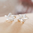 SILVERAGE Sterling Silver Weave Star Stud Earrings