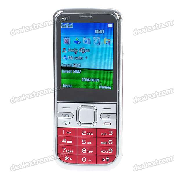 "C5 2.2"" LCD Dual SIM Dual Network Standby Quadband GSM TV Cell Phone w/ FM + Java (Red)"