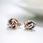 SILVERAGE Two-Tone Love Knot Stud Earrings