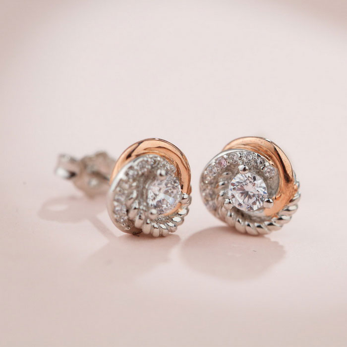 SILVERAGE Zirconia Two-Tone Love Knot Stud Earrings