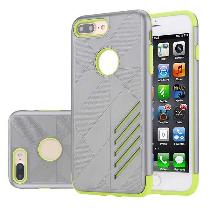 PC camada dupla + caso TPU para o iPhone 7 PLUS - cinza + verde