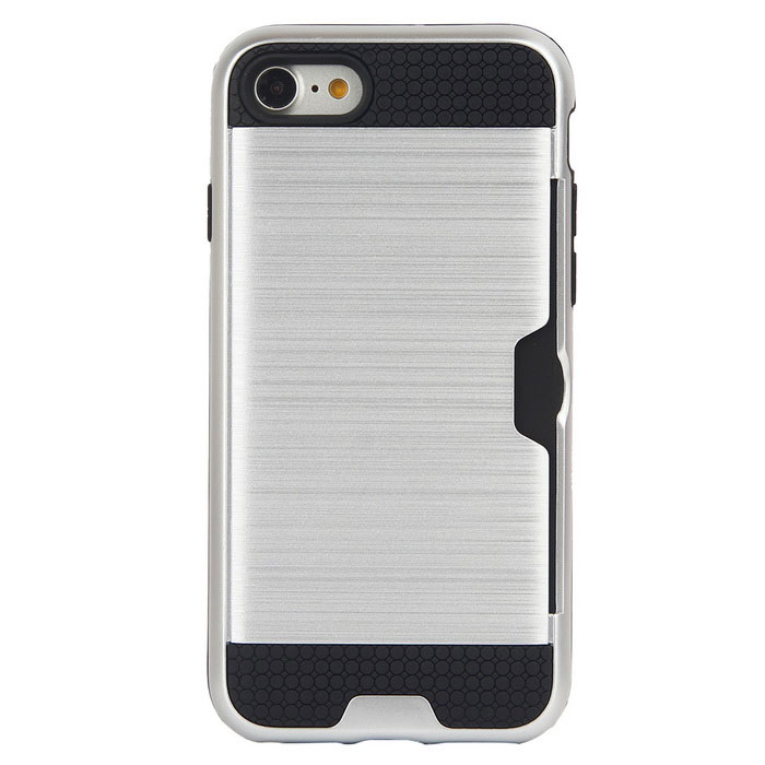 Wiredrawing TPU Phone Back Case w / Слоты для карт для IPhone 7 - Silver