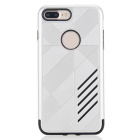 PC capa dual + caso de TPU para IPHONE 7 PLUS - negro + blanco plateado