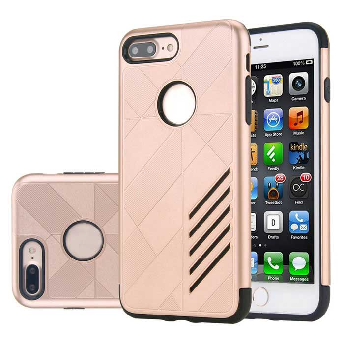 PC capa dual + TPU caso para IPHONE 7 PLUS - negro + oro