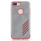 PC capa dual + caso de TPU para IPHONE 7 PLUS - gris + rojo