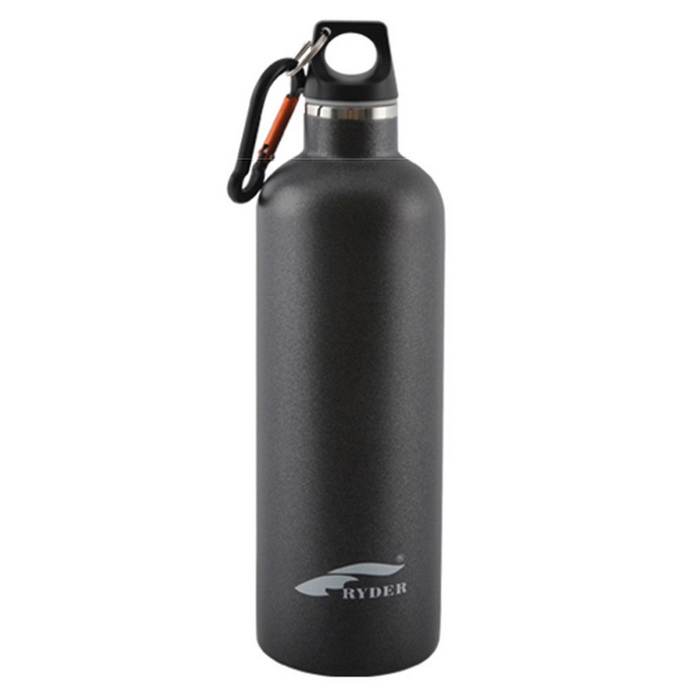 Ryder 600ml Vacuum Double-Layer Stainless Steel Sports Bottle - Black
