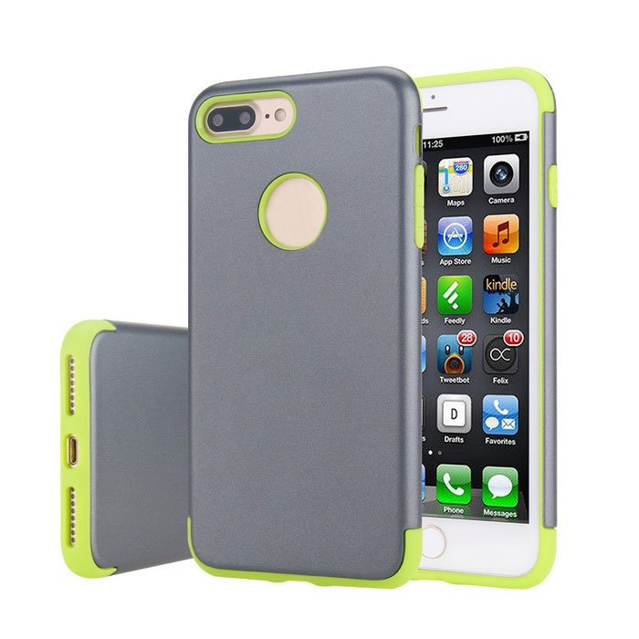caso la capa de PC + TPU de doble prima para IPHONE 7 PLUS - gris + verde