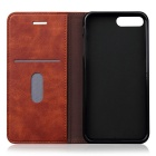 Premium PU + TPU Flip Wallet Case for IPHONE 7 PLUS w/ Stand - Brown