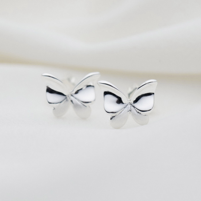 SILVERAGE Sterling Silver Wiredrawing Butterfly Stud Örhängen
