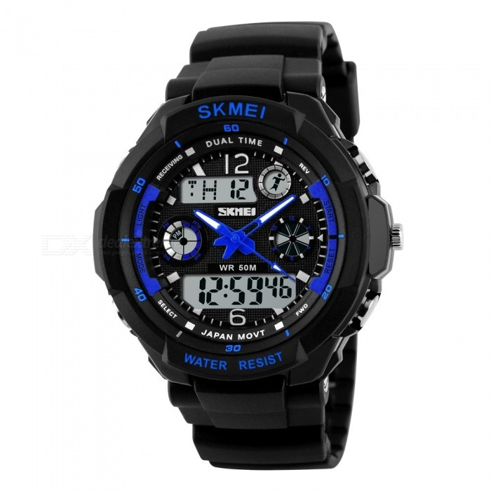 SKMEI 0931 Mens Digital LED Quartz Military Sports Watch - Blue (L)Sport Watches<br>Form ColorBlueModel0931Quantity1 DX.PCM.Model.AttributeModel.UnitShade Of ColorBlueCasing MaterialABSWristband MaterialQuality PU plastic/SportsSuitable forAdultsGenderMenStyleWrist WatchTypeSports watchesDisplayAnalog + DigitalBacklightGreenMovementOthers,Digital + QuartzDisplay Format12/24 hour time formatWater ResistantWater Resistant 5 ATM or 50 m. Suitable for swimming, white water rafting, non-snorkeling water related work, and fishing.Dial Diameter4.8 DX.PCM.Model.AttributeModel.UnitDial Thickness1.6 DX.PCM.Model.AttributeModel.UnitWristband Length26 DX.PCM.Model.AttributeModel.UnitBand Width2.2 DX.PCM.Model.AttributeModel.UnitBattery1 * CR2016 / SR626SWOther FeaturesFeatures: Multiple Time Zone, Alarm, Calendar, Chronograph, LuminousPacking List1 * Watch<br>