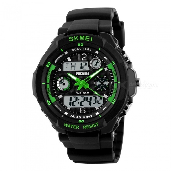 SKMEI 0931 Mens Digital LED Quartz Military Sports Watch - Green (L)Sport Watches<br>Form  ColorGreenModel0931Quantity1 DX.PCM.Model.AttributeModel.UnitShade Of ColorGreenCasing MaterialABSWristband MaterialQuality PU plastic/SportsSuitable forAdultsGenderMenStyleWrist WatchTypeSports watchesDisplayAnalog + DigitalBacklightGreenMovementDigitalDisplay Format12/24 hour time formatWater ResistantWater Resistant 5 ATM or 50 m. Suitable for swimming, white water rafting, non-snorkeling water related work, and fishing.Dial Diameter4.8 DX.PCM.Model.AttributeModel.UnitDial Thickness1.6 DX.PCM.Model.AttributeModel.UnitWristband Length26 DX.PCM.Model.AttributeModel.UnitBand Width2.2 DX.PCM.Model.AttributeModel.UnitBattery1 * CR2016/SR626SWOther FeaturesFeatures: Multiple Time Zone, Alarm, Calendar, Chronograph, LuminousPacking List1 * Watch<br>