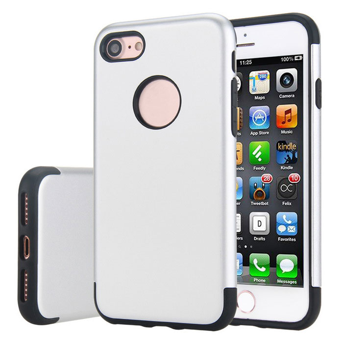 Premium Dual Layer PC + TPU Case for IPHONE 7 - Black + Silvery White