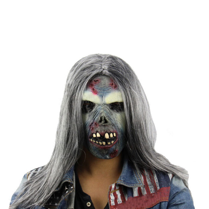 Long-haired Zombie Halloween Fright Mask - Grey + Yellow + Multicolor