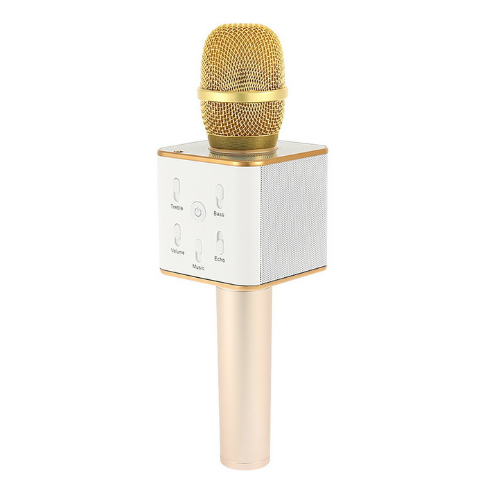 Mini Bluetooth Wireless Handheld Karaoke Singing Microphone - GoldenMicrophones<br>Form  ColorGoldenQuantity1 DX.PCM.Model.AttributeModel.UnitShade Of ColorGoldMaterialABSInterface3.5mmPowered ByUSBMicrophone Frequency Response100Hz~10KHzSensitivity-40±3dBMic Polar PatternsCardioidImpedance150 DX.PCM.Model.AttributeModel.UnitOther FeaturesPickup: Condenser<br>Reverb Mode: Echo reverberation<br>Output Power: 3W * 2<br>Bluetooth: 4.0<br>Frequency Range: 100Hz-10kHz<br>Max SPL: &gt;115dB<br>Built-in polymer battery: 2600mAh<br>Playing Time: 8 hours<br>Standby Time: 360 hours<br>Charging Voltage: 5VPacking List1 * Microphone1 * USB Cable(1M)1 * 3.5mm Audio Cable(1M)1 * User Manual<br>