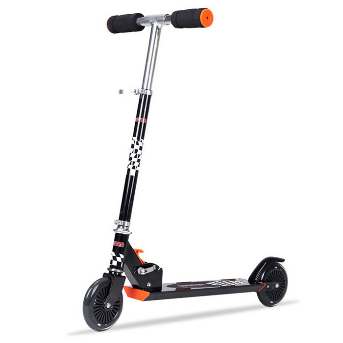 Folding 3-Gear Aluminum Alloy Two-wheel Scooter for Children - Black