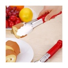 Colorful Stainless Steel Food Tongs - Red + Silver