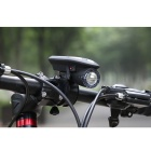 Solar / USB Powered 360 Degree Rotary 3-Mode Bike Headlamp - Black