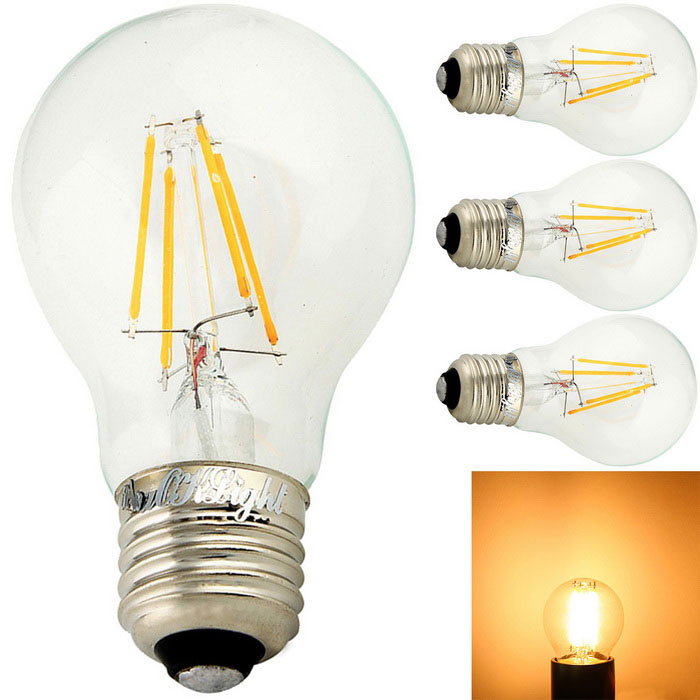 YouOKLight E27 4W 4-COB 350lm Warm White Edison Globe Bulbs (4PCS)E27<br>Color BINOthersModelYK0804MaterialGlass + AluminumForm  ColorTransparent + YellowQuantity4 DX.PCM.Model.AttributeModel.UnitPower4WRated VoltageAC 220-240 DX.PCM.Model.AttributeModel.UnitConnector TypeE27Emitter TypeCOBTotal Emitters4Theoretical Lumens400 DX.PCM.Model.AttributeModel.UnitActual Lumens350 DX.PCM.Model.AttributeModel.UnitColor Temperature3000KDimmableNoBeam Angle360 DX.PCM.Model.AttributeModel.UnitPacking List4 * LED Bulbs<br>