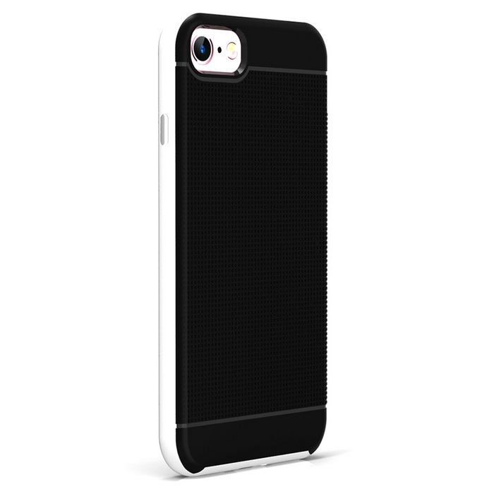 Protective PC + TPU Back Case for IPHONE 7 - Black + White