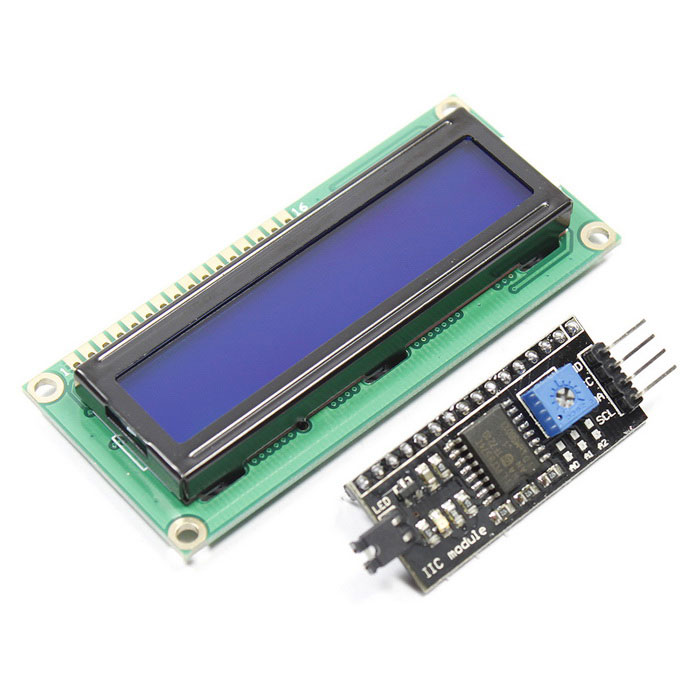 IIC / I2C + 1602 Blue Screen LCD Display Module for Arduino - Blue