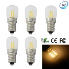 JRLED E14 2W 2-COB Warm White LED Bulbs - Transparent (5pcs)