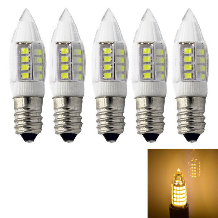 E14 3W 2835 27-LED Warm White Ceramic Bulb Lamps (AC 220V / 5pcs)
