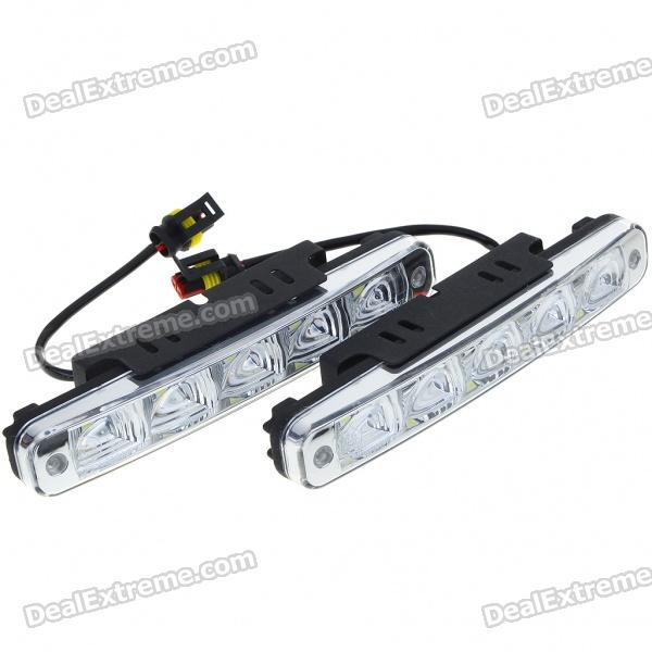 Universal Waterproof White 5-LED 90-Lumen Daytime Running Lights for Car (Pair) white yellow turn signal led drl warning lights daylight fog lamp for vw volkswagen polo 2014 2015