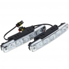Universal Waterproof White 5-LED 90-Lumen Daytime Running Lights for Car (Pair)