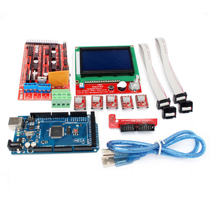 RAMPS 1.4 + 2560 R3 + A4988 + LCD12864 3D Printer Controller Board KitKits<br>Form ColorBlue + RedModelNOQuantity1 SetMaterialPCB + electronic componentsEnglish Manual / SpecNoPacking List1 * LCD128641 * 3D RAMPS1.4 Control board1 * Mega2560 R3 Board5 * A4988 Driver Boards1 * Data cable (50cm)2 * Connection Cable (30cm)1 * Adapter Board<br>