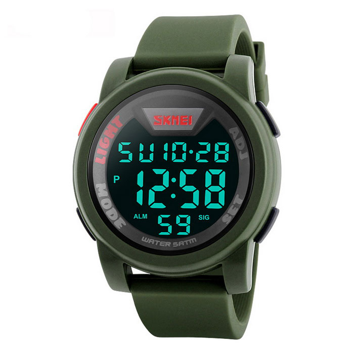 SKMEI 1218 Mens 50m Waterproof Digital Sports Watch - Army GreenSport Watches<br>Form  ColorArmy GreenModel1218Quantity1 DX.PCM.Model.AttributeModel.UnitShade Of ColorGreenCasing MaterialPCWristband MaterialSiliconeSuitable forAdultsGenderMenStyleWrist WatchTypeSports watchesDisplayDigitalBacklightGreenMovementDigitalDisplay Format12/24 hour time formatWater ResistantWater Resistant 5 ATM or 50 m. Suitable for swimming, white water rafting, non-snorkeling water related work, and fishing.Dial Diameter5 DX.PCM.Model.AttributeModel.UnitDial Thickness1.5 DX.PCM.Model.AttributeModel.UnitWristband Length26.5 DX.PCM.Model.AttributeModel.UnitBand Width2.2 DX.PCM.Model.AttributeModel.UnitBattery1*CR2032Packing List1 * Sports watch<br>
