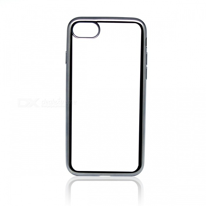 Electroplating TPU Back Case Cover for IPHONE 7 - Grey + Transparent