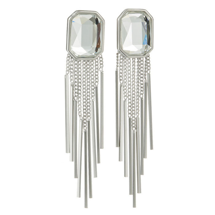 Square Austrian Crystal Tassel Drop Earrings - Transparent White