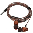 Cwxuan T-003M Wooden Stereo Bass In-ear Earphone w/ Mic - Brownish Red