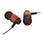 Cwxuan T-002M Wooden Stereo Bass In-ear Earphone w/ Mic. - Brown