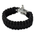 Outdoor Parachute Cord Bracelet Adjustable Steel Buckle Cords - Black