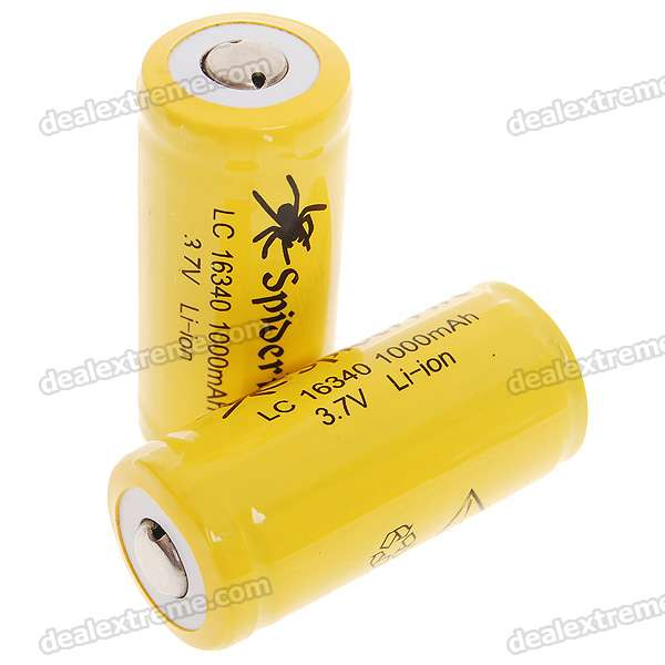 Protected LC 16340 3.7V 1000mAh Li-ion Batteries - Yellow (2-Battery Pack) fandyfire protected 14500 rechargeable 3 7v 400mah li ion batteries white pair