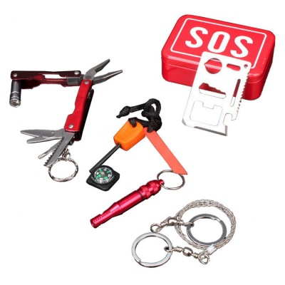 Outdoor Survival Emergency Survival Set - Red + Multicolor