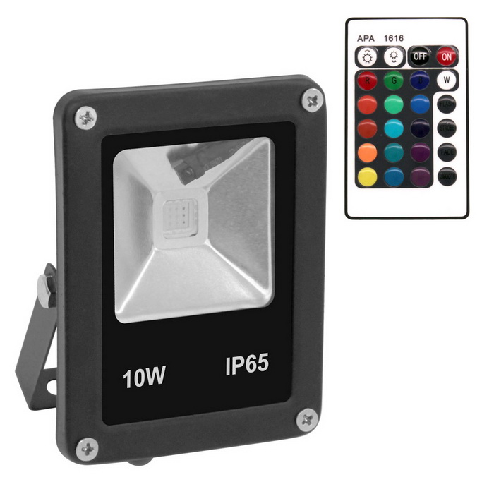 Waterproof 10W RGB Outdoor LED Flood Lights w/ Controller Black Case