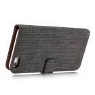 Mesh Protective PC + PU Wallet Cover Case for IPHONE 7 - Black