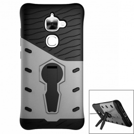 Protective TPU + PC Back Case w/ Holder for Letv 2 - Black + Silver