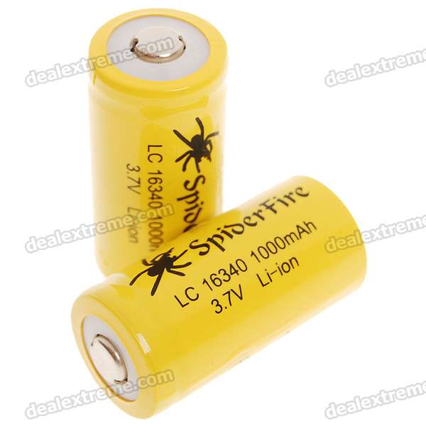 LC 16340 3.7V 1000mAh Li-ion Batteries - Yellow (2-Battery Pack)