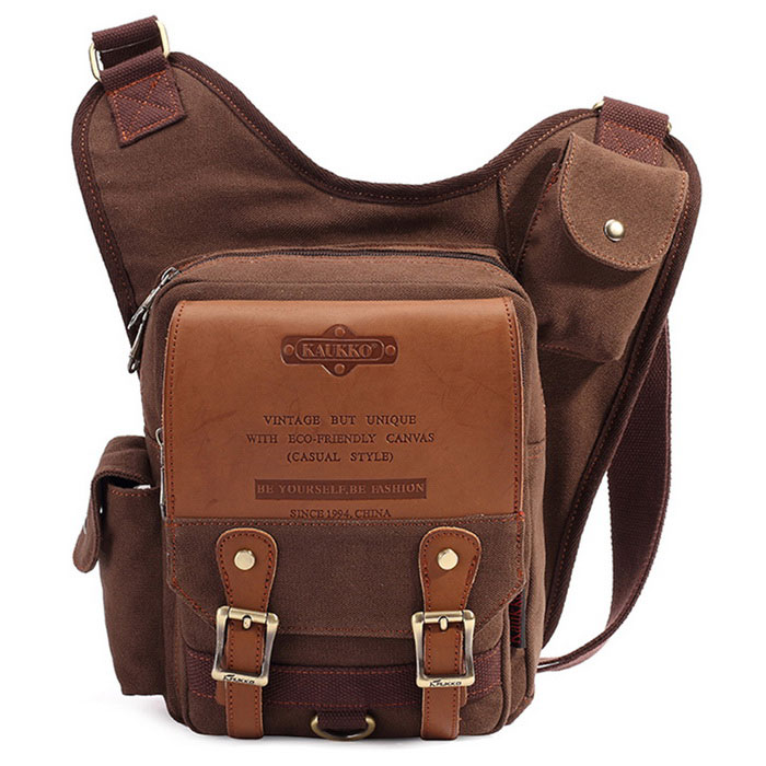 KAUKKO SG255 4L Men's Business Style Sling Chest Bag - Coffee