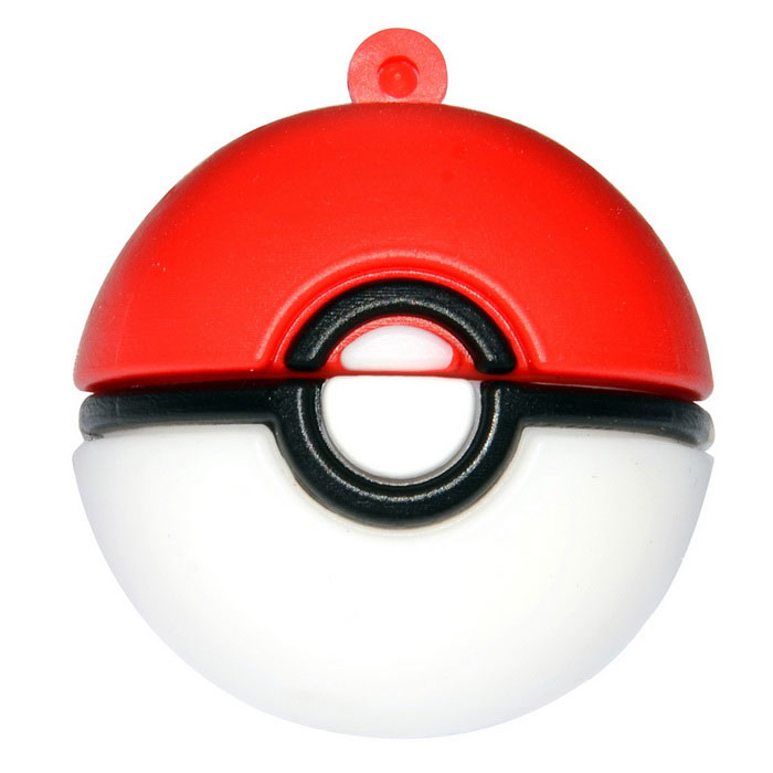 Poke Ball Style USB 2.0 Flash Drive - Red + White (16GB)