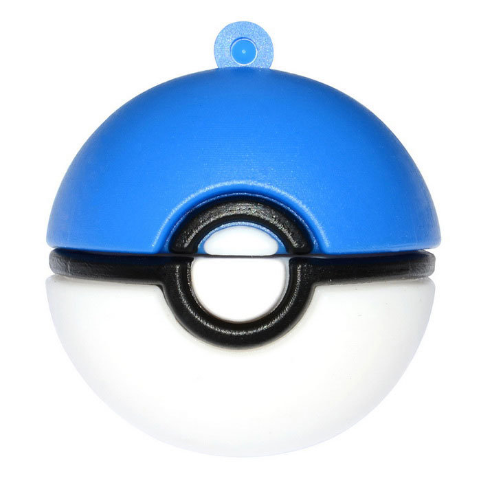 Poke Ball Style USB 2.0 Flash Drive - Blue + White (16GB)