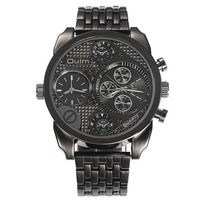 Oulm Men's Antique Casual Military Full Steel Quartz-watch - Black