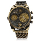 Oulm Men's Antique Casual Military Full Steel Quartz-watch - Bronze
